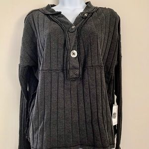 Free People - In the Mix Knit Top - black small